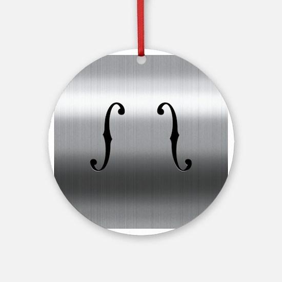 Brushed Chrome F Holes Ornament (Round)