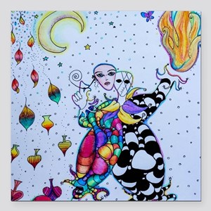 "Colorful Jester Square Car Magnet 3"" x 3"""