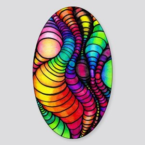 Colorful Tubes Sticker (Oval)
