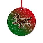 Liver Flat Coated Retriever Ornament (round)