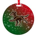 Liver Flat Coated Retriever Round Ornament