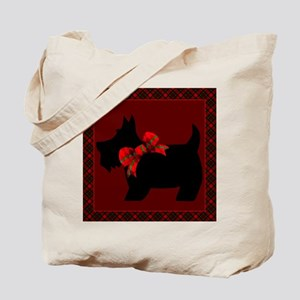Scottie Dog with plaid Tote Bag