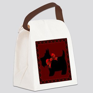 Scottie Dog with plaid Canvas Lunch Bag