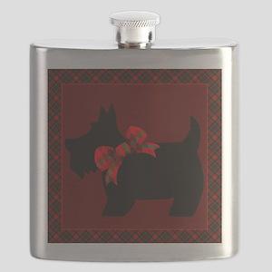 Scottie Dog with plaid Flask