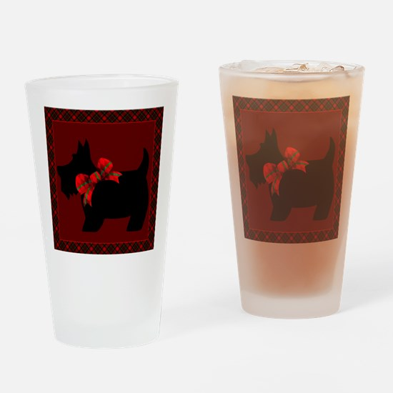 Scottie Dog with plaid Drinking Glass