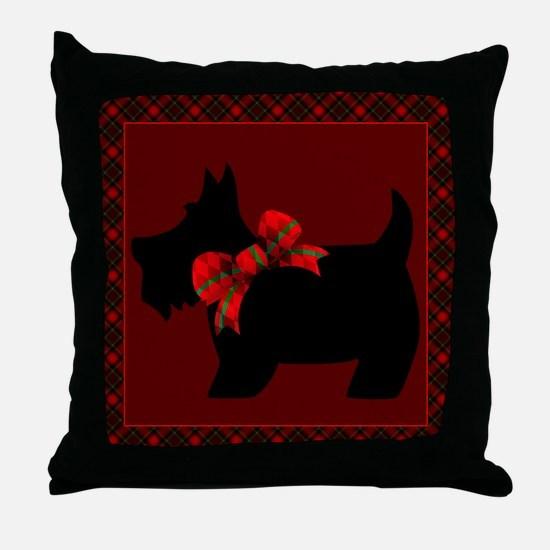 Scottie Dog with plaid Throw Pillow