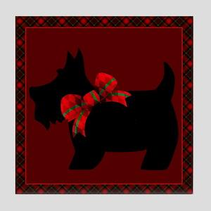 Scottie Dog with plaid Tile Coaster