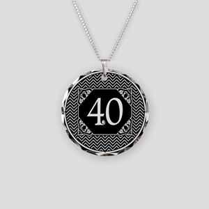 40 (Chevron) Necklace Circle Charm