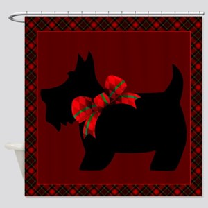 Scottie Dog with plaid Shower Curtain