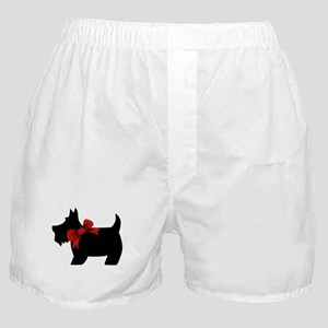 Scottie dog with bow Boxer Shorts