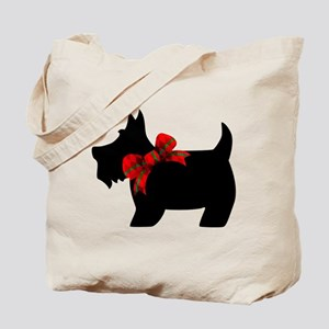 Scottie dog with bow Tote Bag