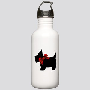 Scottie dog with bow Water Bottle