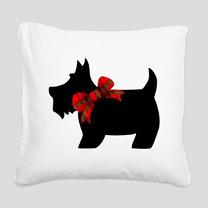 Scottie dog with bow Square Canvas Pillow
