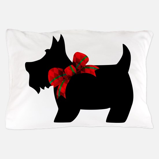 Scottie dog with bow Pillow Case