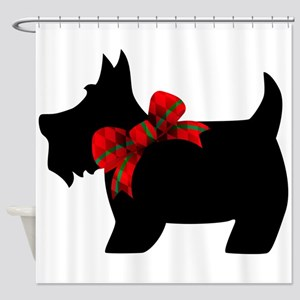Scottie Dog With Bow Shower Curtain