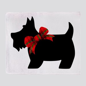 Scottie dog with bow Throw Blanket