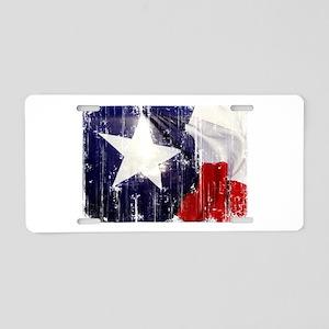 Texas Waving Flag Aluminum License Plate