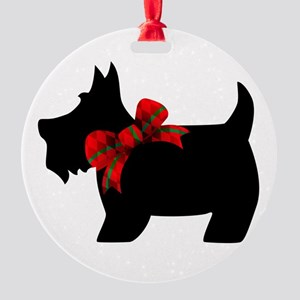 Scottie dog with bow Ornament