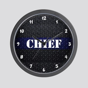 Chief Of Police Diamond Plate Wall Clock