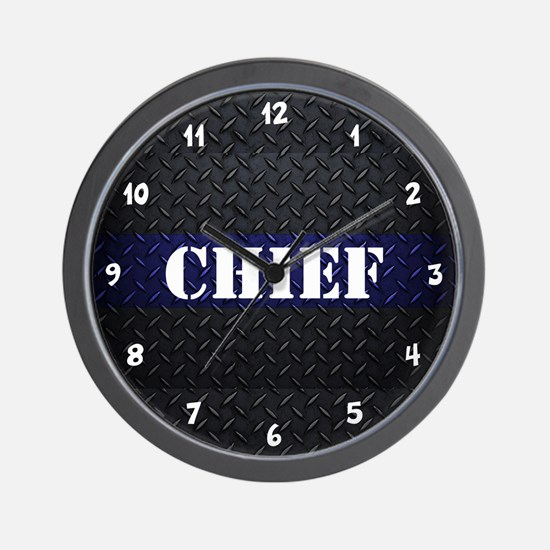Chief Of Police Diamond Plate Wall Clock