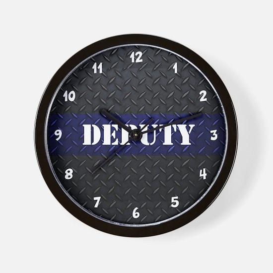 Deputy Thin Blue Line Diamond Plate Wall Clock