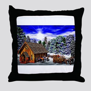 Christmas Then Throw Pillow