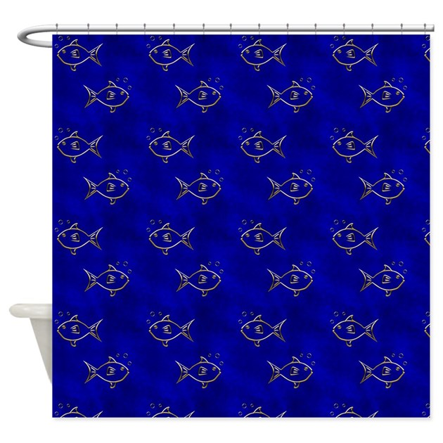 fish shower curtain gold fish on blue shower curtain by manchesterandbedding 10383