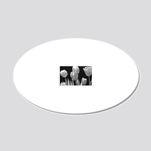 Black and White Tulips 20x12 Oval Wall Decal