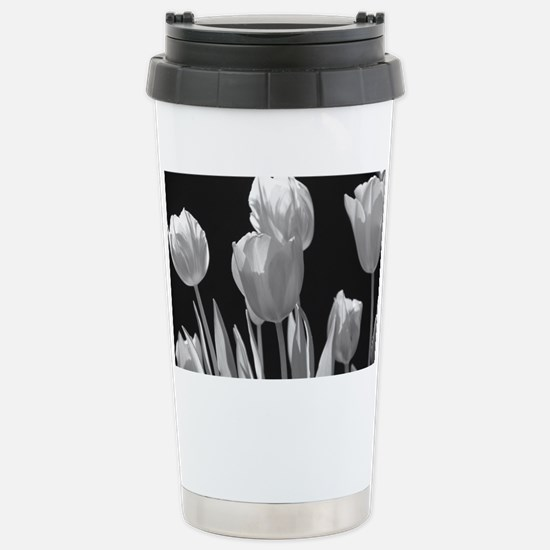 Black and White Tulips Stainless Steel Travel Mug