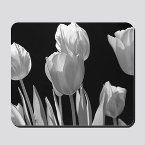 Black and White Tulips Mousepad