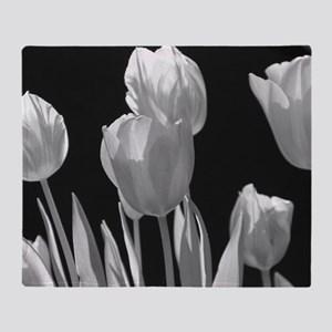 Black and White Tulips Throw Blanket