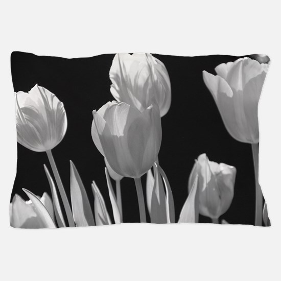 Black and White Tulips Pillow Case