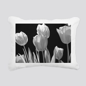 Black and White Tulips Rectangular Canvas Pillow