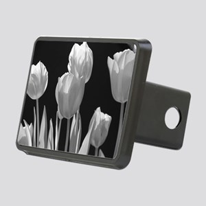 Black and White Tulips Rectangular Hitch Cover
