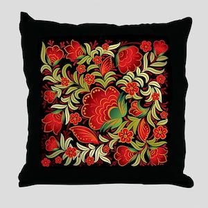 Elegant Floral Red on Black Throw Pillow