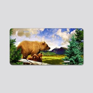 Three Grizzlies in Montana Aluminum License Plate
