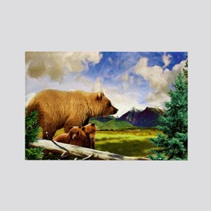 Three Grizzlies in Montana Rectangle Magnet