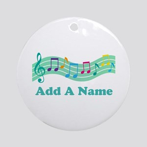Personalized Music Notes Gift Ornament (Round)