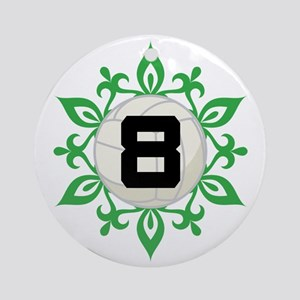 Volleyball Player Number 8 Ornament (Round)
