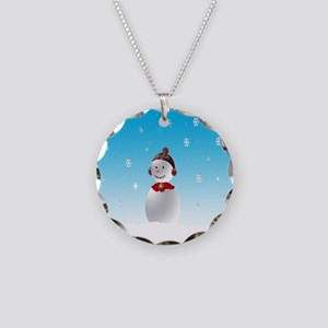 Cheerful Snowman In Winter Necklace Circle Charm
