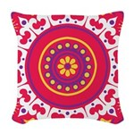 Pop Flower Woven Throw Pillow