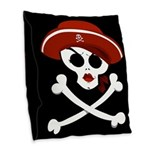 Pirate Wench Skull Burlap Throw Pillow