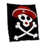 Pirate Wench Skull Burlap Throw Pillow