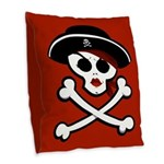 Pirate Wench Skull Throw Pillow