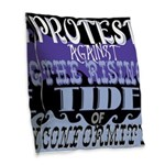 Protest Burlap Throw Pillow
