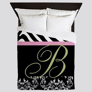 Damask, Zebra and Monogram Queen Duvet