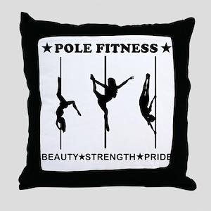 Pole Fitness Beauty Strength Pride Black Throw Pil