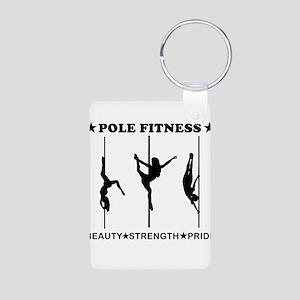 Pole Fitness Beauty Strength Pride Black Keychains