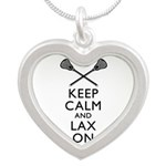 Keep Calm And Lax On Silver Heart Necklace