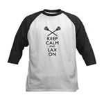 Keep Calm And Lax On Kids Baseball Jersey